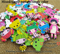 100PCS mixed/single painting wooden clothes accessories  craft findings handmade wood girl button flatback WCF-204