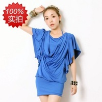 2013 spring short design fashion faux two piece set queen ruffle sleeve hip slim one-piece dress
