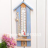 Multi-function Wooden Wall Hook / Coloured Drawing Temperature Gauge / Wall Decoration Hook Ocean Style ID:A0109076