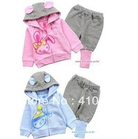 free shipment new arrival autumn style 2 color out wear+pant 5sets/lot baby's suits kid's suits