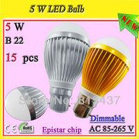 Free shipping 15 pcs/lot ajustables 5w b22 bc light bulb gold / silver aluminum profile ac 85-265v Epistar 500 lm warn / white