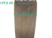100% Remy Hair Extension piece clip a slice  50cm  8#