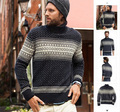 Turtleneck ! classic vintage jacquard wool blending thermal sweater
