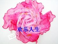 Mix Wholesale 60cm Georgette Silk Square Scarf ruffle Garden Flower Shawl Headband Hostess Professional Scarf Handbag Decor