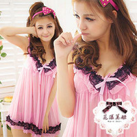 High-elastic lace transparent tulle temptation sexy sleepwear female xiaxin suspender skirt lounge