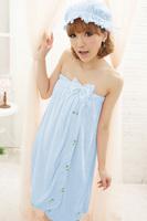 Sweet bow towel shower cap set lounge women's sleepwear derlook sleepwear blue