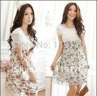 Free shipping,PROMOTION,Hot Sale Ladies Dress,Women Dress,Floral Chiffon Dress,pink, Red ,Purple flower  3 colors 1050