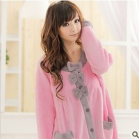 Buckle soft coral fleece robe loose casual female bathrobe nightgown derlook sleepwear