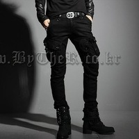 Trousers male trousers casual multi-pocket pants three-dimensional cut