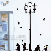 Ihome animal wall stickers cat strightlightsstreetlights cartoon child real wall stickers sticker