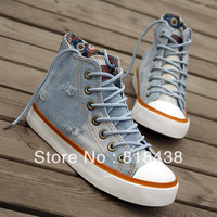 Canvas shoes elevator shoes casual hole personalized denim material flat high female shoes