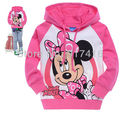 Sample sport pink minnie mouse printing childrens clothing boy's girl's top shirts Hooded Sweater hoodie coat overcoat topcoat(China (Mainland))