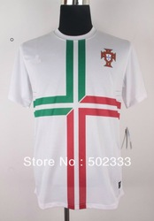 Hot sale best quality 2013/14Portugal away white fine Soccer Jersey + Free Shipping size: S/m/l/ XL(China (Mainland))