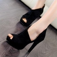 2012 open toe sandals high heel genuine leather platform high-heeled shoes scrub women's shoes