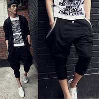 Hiphop hip-hop unique pocket capris male loose plus size capris pull style male Pant