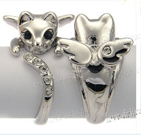 Hot  Real Gold silver plated Lovely Cat Ring Crystal Ring Free Shipping