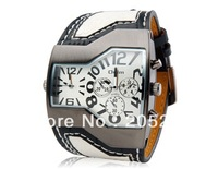 Hotselling Promotion 1 pcs  brand watchDual Quartz Movement Analog Sporty Watch with Faux Leather Strapfreeshipping