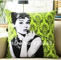 Wholesale - Free Shipping moden Linen cotton pillow cover cushion cover Audrey Hepburn green 60X60CM cw002