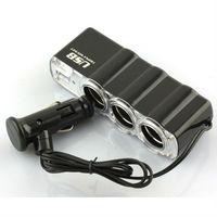 Triple Sockets USB Car Cigarette Socket Converter Adapter Charger SCA-0307