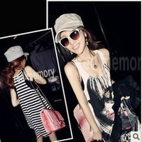 Women's new arrival 2013 spring loose women's spaghetti strap vest long design basic shirt fashion