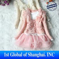 One set Retail 2013 Girls Children's Wear 2pcs Lace Clothing Set coat+Tutu Cake Lace Ruffle Dress for girl Free Shipping