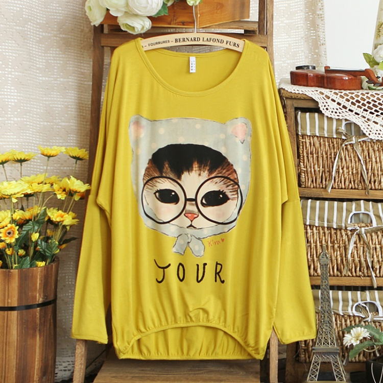 2013 spring mm print long-sleeve loose plus size t-shirt glasses cat t-shirt female(China (Mainland))