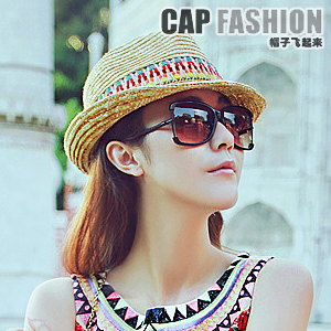 Bohemia ccia straw hat summer female jazz hat beach cap fedoras