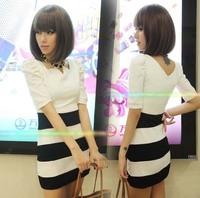 Fashion 2013 puff sleeve patchwork stripe one-piece dress slim evening dress