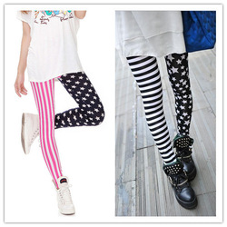 New Fashion Milk Silk Stripes Stars High Stretch Tight Leggings Trendy Women Pants Free Shipping 9617(China (Mainland))