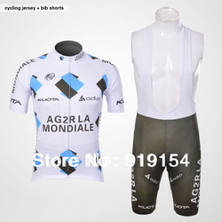 FREE SHIPPING 2012 Ag2r La Mondiale kuota Short Sleeve Cycling Jersey And Bib Short Set(China (Mainland))