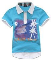 Wholesale 6 pcs summer Children child Boy Kids baby blue purple short sleeve sports cotton shirt T-shirt  clothing top PEXZ02P25
