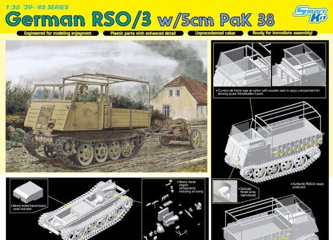 Dragon model 6684 1/35 German RSO/3 w/5cm paK 38 plastic model kit(China (Mainland))