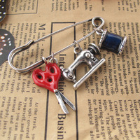 Fashion accessories scissors sewing machine fabric personalized brooch 0083