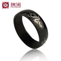 Titanium accessories male ring black pinky ring lettering