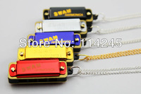 5 PCS New Cute SWAN Mini Harmonica 4-Hole 8-Tone With Necklace Five-Color  blues harp key chain