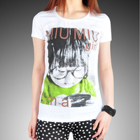2013 fashion head portrait pattern t-shirt female summer print t-shirt slim 100% cotton short-sleeve women's o-neck