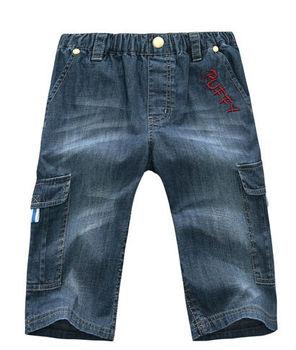 Wholesale 6 pcs summer blue black Children boys Kids baby  with letters pattern cotton jeans pants  trousers clothing PEXS21P03