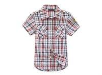 Wholesale 6 pcs summer Children Child boy Kid blue red yellow plaid short sleeve cotton shirt T-shirt top clothing PEXS03P01