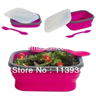 Free shipping silicone collapsible lunch boxes / silicone foldable lunch boxes , food container  with fork