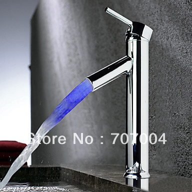Chrome Finish Color Changing LED Temperature Sensor Bathroom Sink Faucet(China (Mainland))