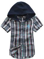 Wholesale 6 pcs summer blue orange plaid children boy Kid baby casual short sleeve cotton hoody hooded shirt/T-shirt PEXS03P27