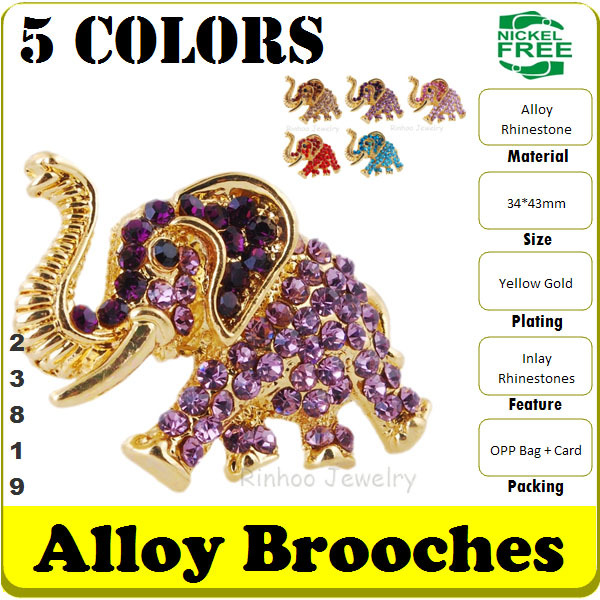 Fashion Alloy Brooch Gold-plated Indian Elephant Crystal Jewerly Lady Mink Coat Rhinestone Brooch 5 Colors 12 pcs/Lot#23819(China (Mainland))