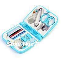 free shipping/ mini travel pp sewing box with color needle threads/ sewing kits/sewing set 2pcs/lot