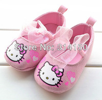 FREE SHIPPING---- pink girls shoes with pink lace ribbons decoration cute baby cartoon cat shoes fashion shoes 1pair/lot 0311-8