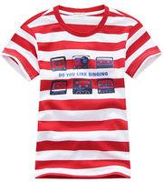 Wholesale 7 pcs summer Children Child boy Kid dark blue red striped casual style short sleeve cotton shirt/ T-shirt PDXZ01P29