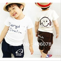 Wholesale, free shipping 100% cotton boys 2 piece set short sleeve t shirt + shorts children's pant boys for summer season