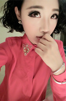 The new 2014 diamond-encrusted jewels collar woman long-sleeved chiffon shirt /Three kinds of color/free shipping