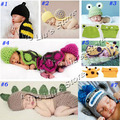 Handmade Children Hat Newborn Baby Crochet Beanie Toddler Knitted Animal Hat Photography Props 5sets/lot Free Shipping
