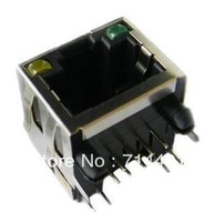 RJ45 connector 8P8C network interface with light shrapnel 90 degrees socket