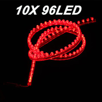 10X Red 96CM 96LED Strip Car Auto Motorcycle Flexible Grill Light Lamp Bulb 12V New free shipping
